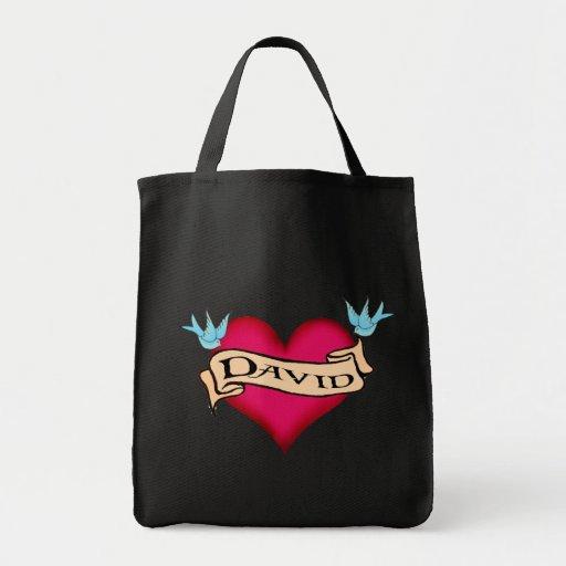 David - Custom Heart Tattoo T-shirts & Gifts Bag
