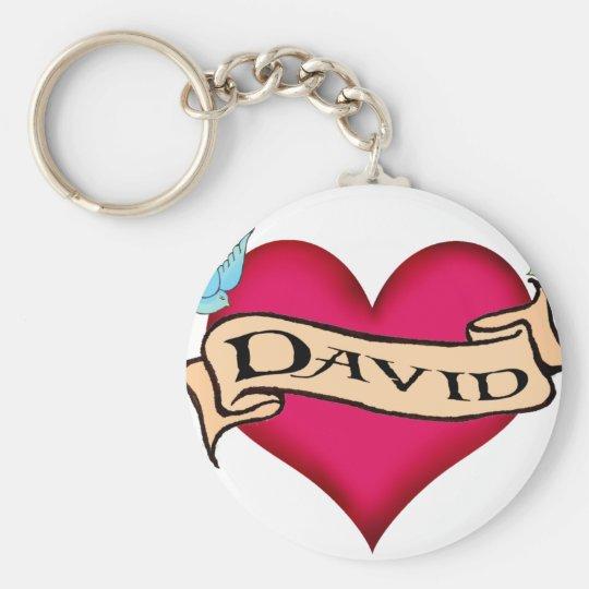 David - Custom Heart Tattoo T-shirts & Gifts Keychain