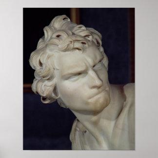 David, detalle de la cabeza, 1623-23 póster
