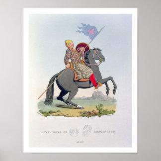 David, Earl of Huntingdon (1084-1153) 1120, engrav Poster