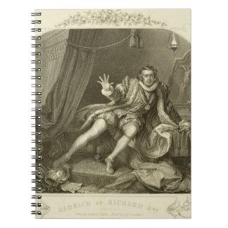 David Garrick (1717-79) como Richard III, acto V S Libro De Apuntes