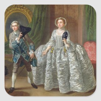 David Garrick and Mrs Pritchard in 'The Suspicious Square Sticker