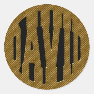 DAVID - GOLD TEXT CLASSIC ROUND STICKER