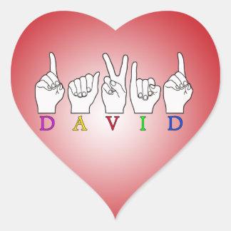 DAVID NAME FINGERSPELLED ASL SIGN HEART STICKER