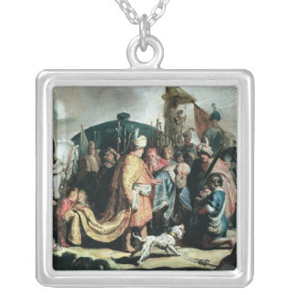 David Offering the Head of Goliath to King Saul Silver Plated Necklace