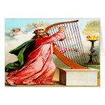 David praising god on harp Greeting card