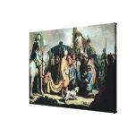 David que ofrece la cabeza de Goliat a rey Saul Impresión En Lona