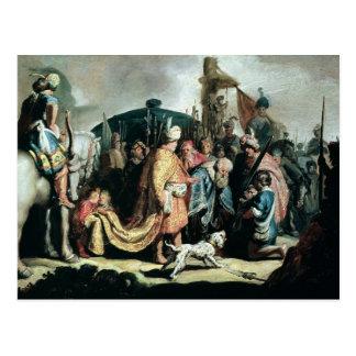 David que ofrece la cabeza de Goliat a rey Saul Tarjeta Postal