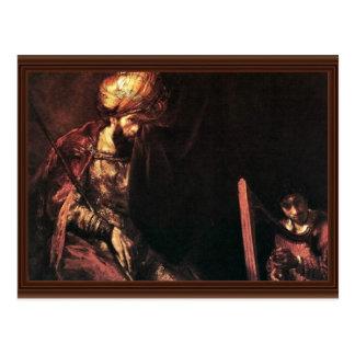 David que toca la arpa antes de Saul. Tarjeta Postal