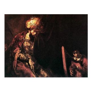 David que toca la arpa antes de Saul. Postales
