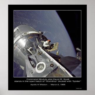 "David R. Scott misión de Apolo 9 de la ""araña"" - Póster"