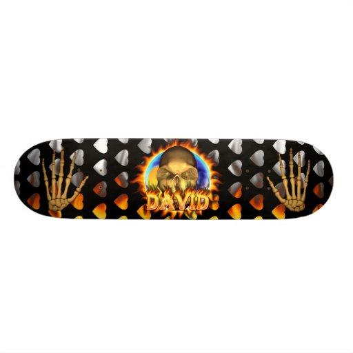 David skull real fire and flames skateboard design