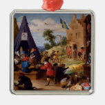 David Teniers the Younger- A Monkey Encampment Christmas Tree Ornament