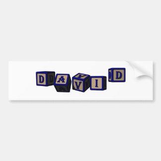 David toy blocks in blue. bumper sticker