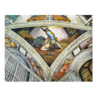 David und Goliath by Michelangelo Unterberger Postcard