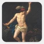 David victorioso, 1780 calcomania cuadrada personalizada