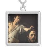 David with the Head of Goliath, Caravaggio Square Pendant Necklace