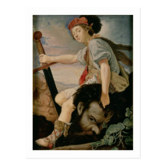 David with the Head of Goliath Postcard