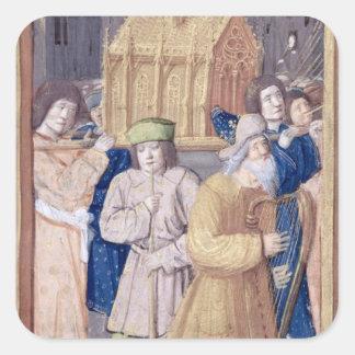 David y la Arca de la Alianza Pegatina Cuadrada