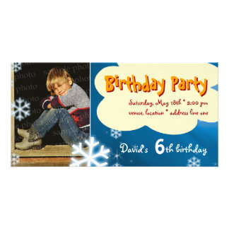 David's Winter Birthday Party Photo Invitation