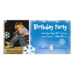 David's Winter Birthday Party Photo Invitation Photo Greeting Card