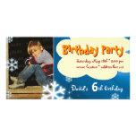 David's Winter Birthday Party Photo Invitation Photo Cards