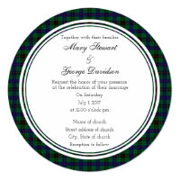 Davidson Scottish Wedding Round Invitation