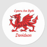 Davidson Welsh Dragon Round Stickers