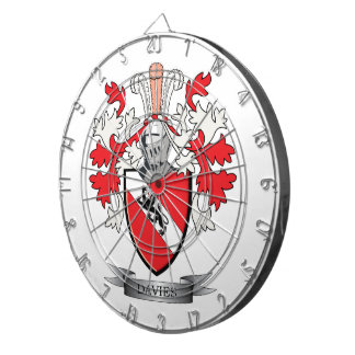 Davies Family Crest Coat of Arms Dartboard