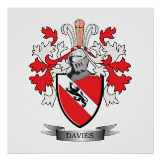 Davies Family Crest Coat of Arms Poster