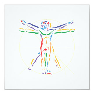 DaVinci Anatomy Man in Chakra Colors Card