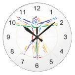DaVinci Anatomy Man in Chakra Colors Clock