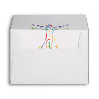 DaVinci Anatomy Man in Chakra Colors Envelope