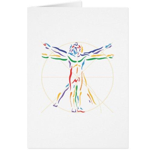 DaVinci Anatomy Man in Chakra Colors Greeting Card