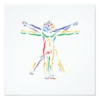 DaVinci Anatomy Man in Chakra Colors 5.25x5.25 Square Paper Invitation Card