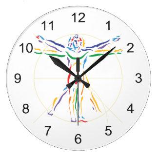 DaVinci Anatomy Man in Chakra Colors Large Clock