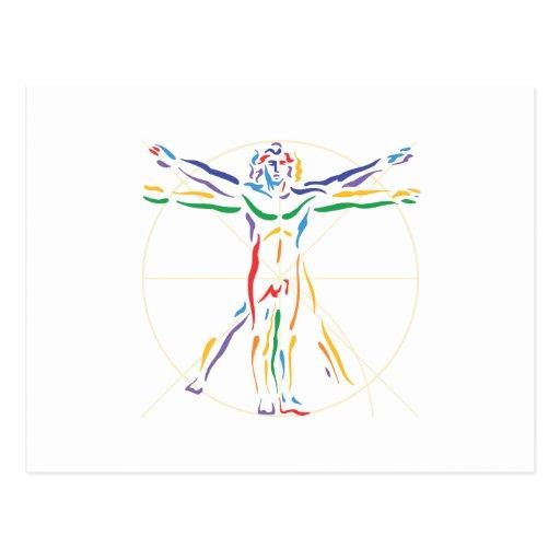 DaVinci Anatomy Man in Chakra Colors Post Card