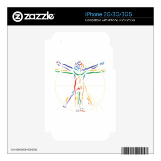 DaVinci Anatomy Man in Chakra Colors Decal For The iPhone 3GS