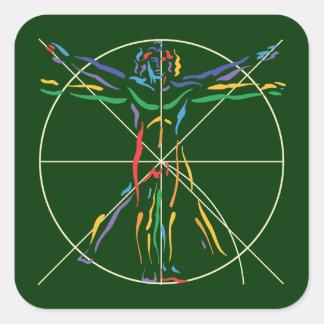 DaVinci Anatomy Man in Chakra Colors Square Sticker