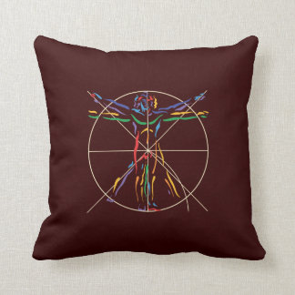 DaVinci Anatomy Man in Chakra Colors Throw Pillow