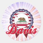 Davis, CA Pegatina Redonda