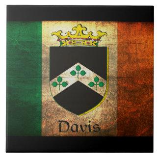 Davis Crest Irish Flag Ceramic Tile