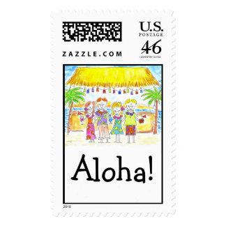 Davis Dec Tiki Hut- Aloha Postage Stamp