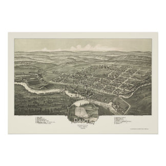 Davis, mapa panorámico de WV - 1898 Póster