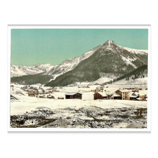 Davos, Dorfli and Seehorn, in winter, Grisons, Swi Postcard
