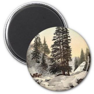 Davos en invierno Grisons vintage Pho de Suiza Iman De Nevera