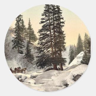 Davos, in winter, Grisons, Switzerland vintage Pho Sticker