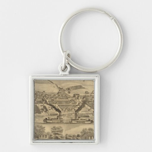 Davosburgh coal works Silver-Colored square keychain