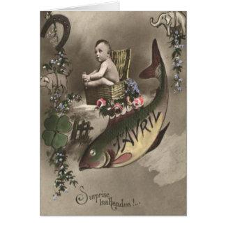 D'avril de Poisson del trébol de la hoja del bebé Tarjeta De Felicitación