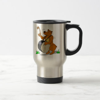 Davul Playing Bear Balkan Instrument Travel Mug